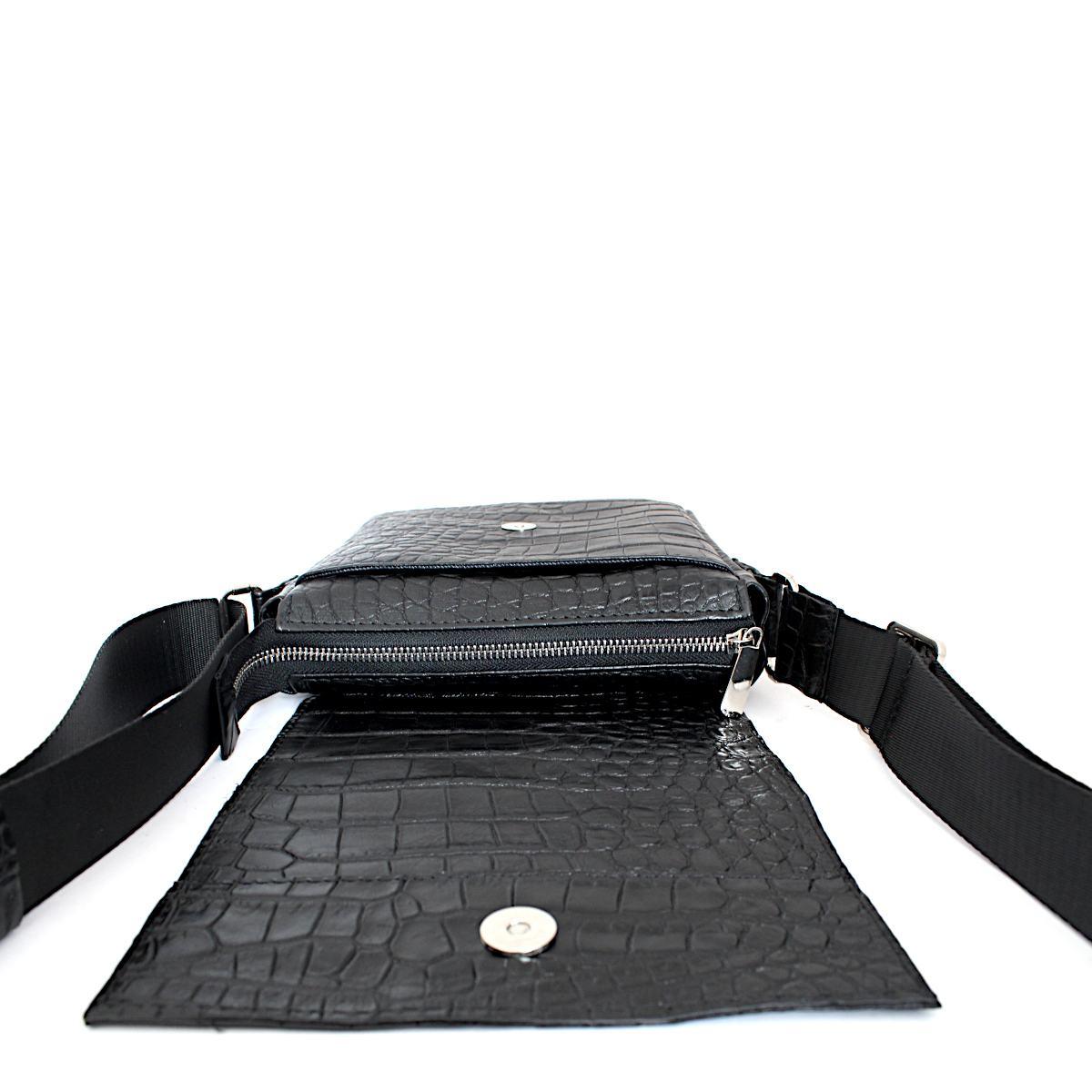 Черна Мъжка Чанта Естествена Кожа Кроко Щампа Цип
