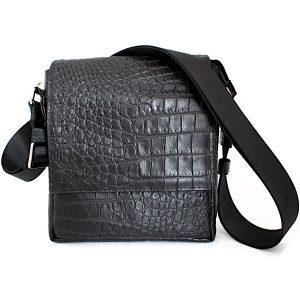 Черна Мъжка Чанта Естествена Кожа Кроко Щампа