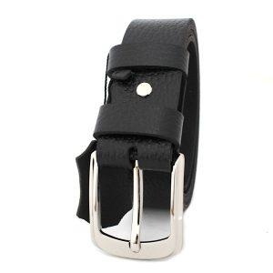 мъжки колан от естествена шагрен кожа в черно 3766