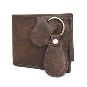 комплект кожен мъжки портфейл и ключодържател