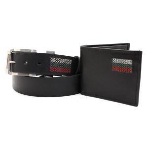 комплект портфейл и колан бродирани с българското знаме- 2866