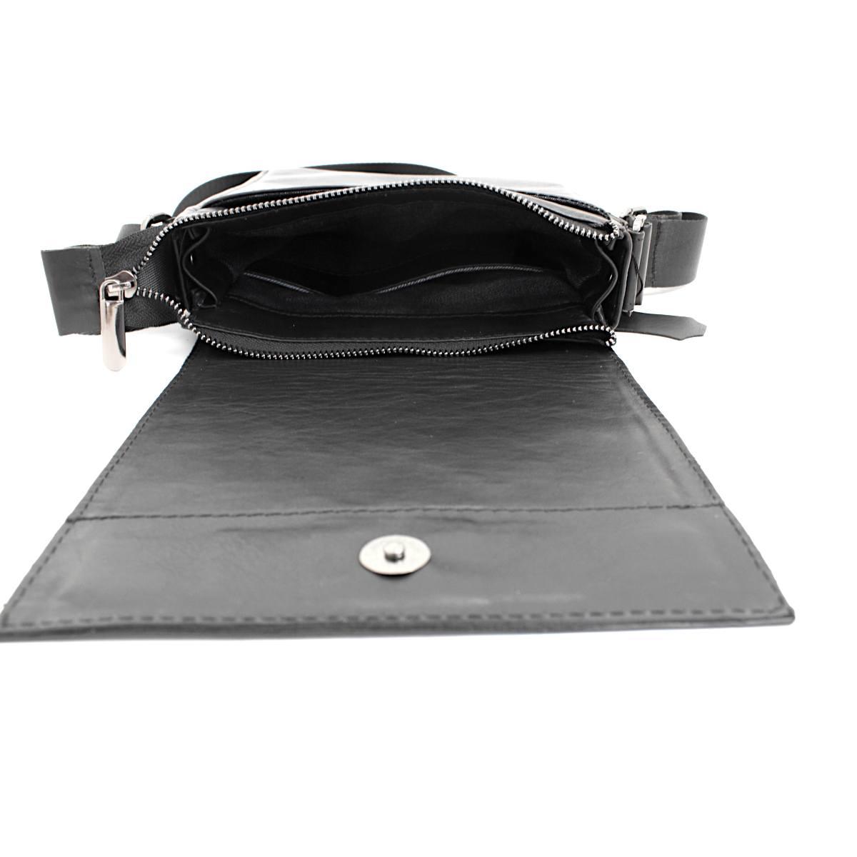 луксозна мъжка чанта от естествена кожа черна отвътре