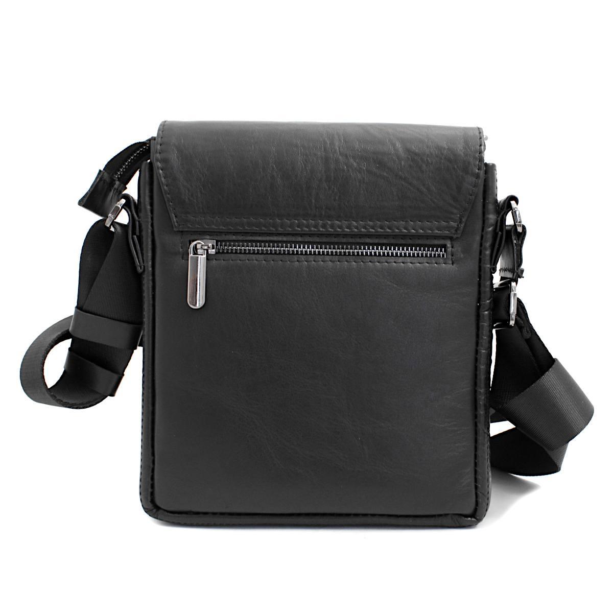 луксозна мъжка чанта от естествена кожа черна отзад