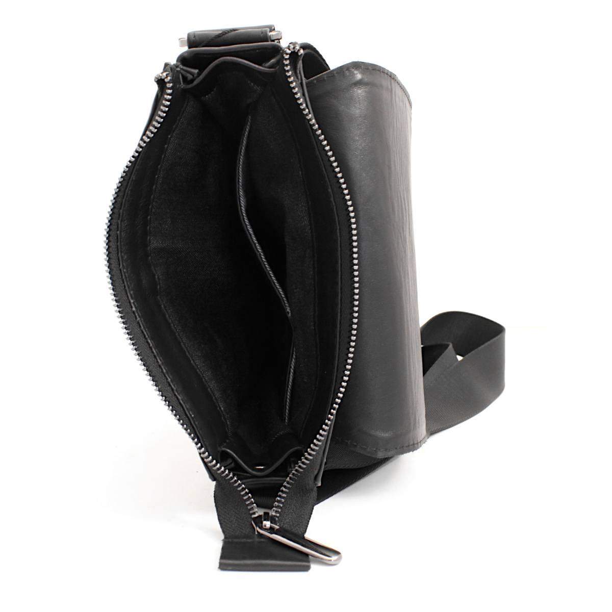 луксозна мъжка чанта от естествена кожа черна прегради