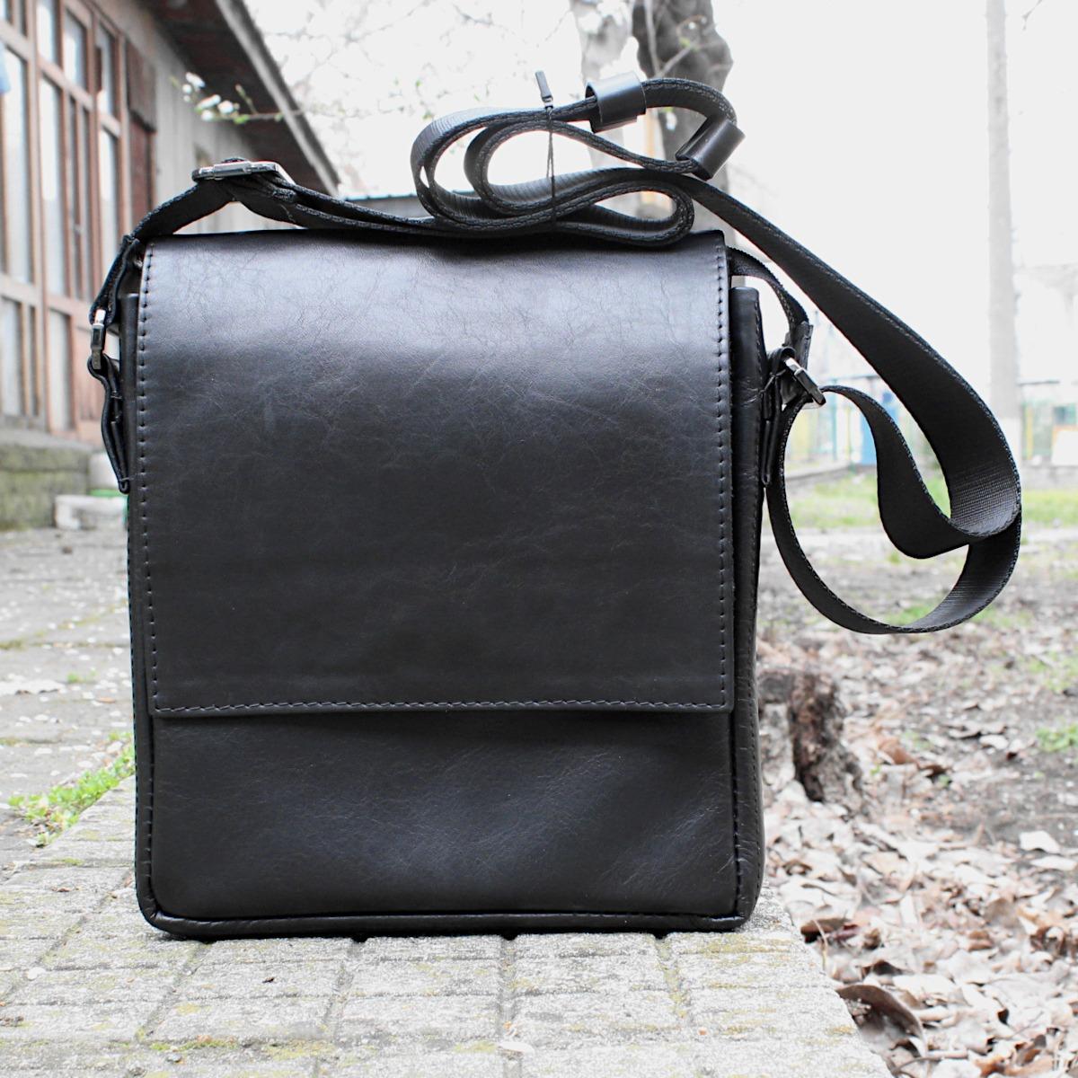 луксозна мъжка чанта от естествена кожа черна цветна