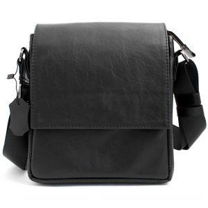 луксозна мъжка чанта от естествена кожа черна