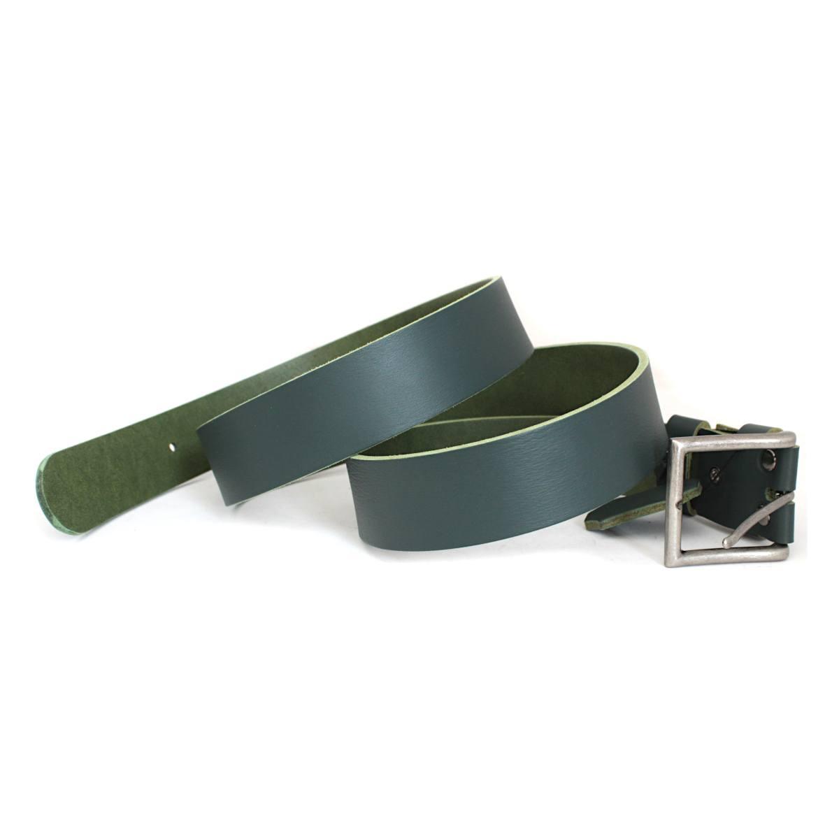 зелен мъжки колан естествена кожа - лента