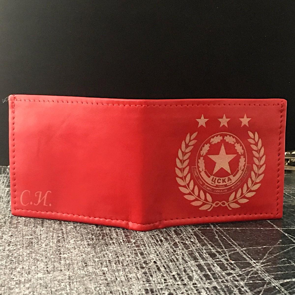 ръчно изработен червен кожен портфейл с логото на цска - отзад
