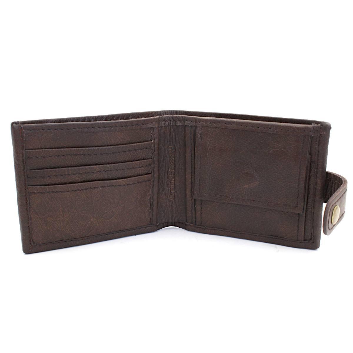 естествена кожа мъжки портфейл кафяв - вътре