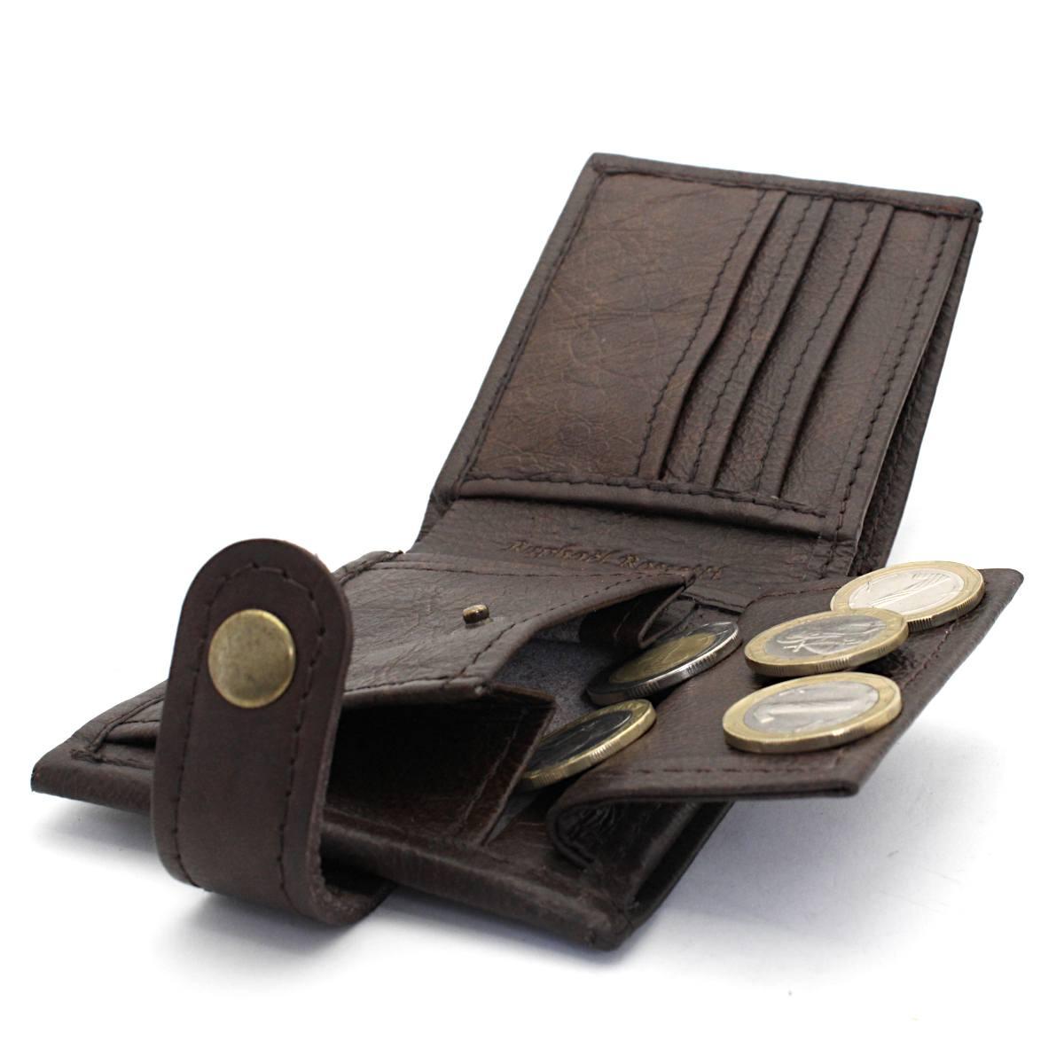 естествена кожа мъжки портфейл кафяв - монетник
