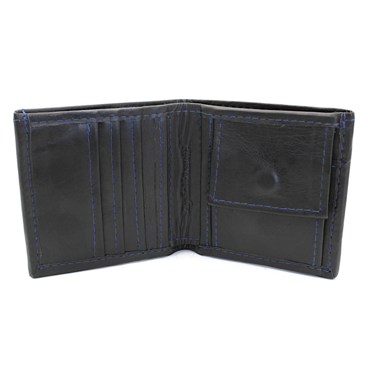 естестена кожа мъжки портфейл син конец - вътре