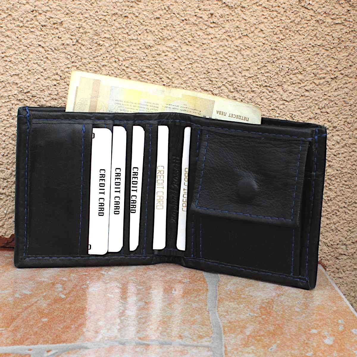 естестена кожа мъжки портфейл син конец - карти