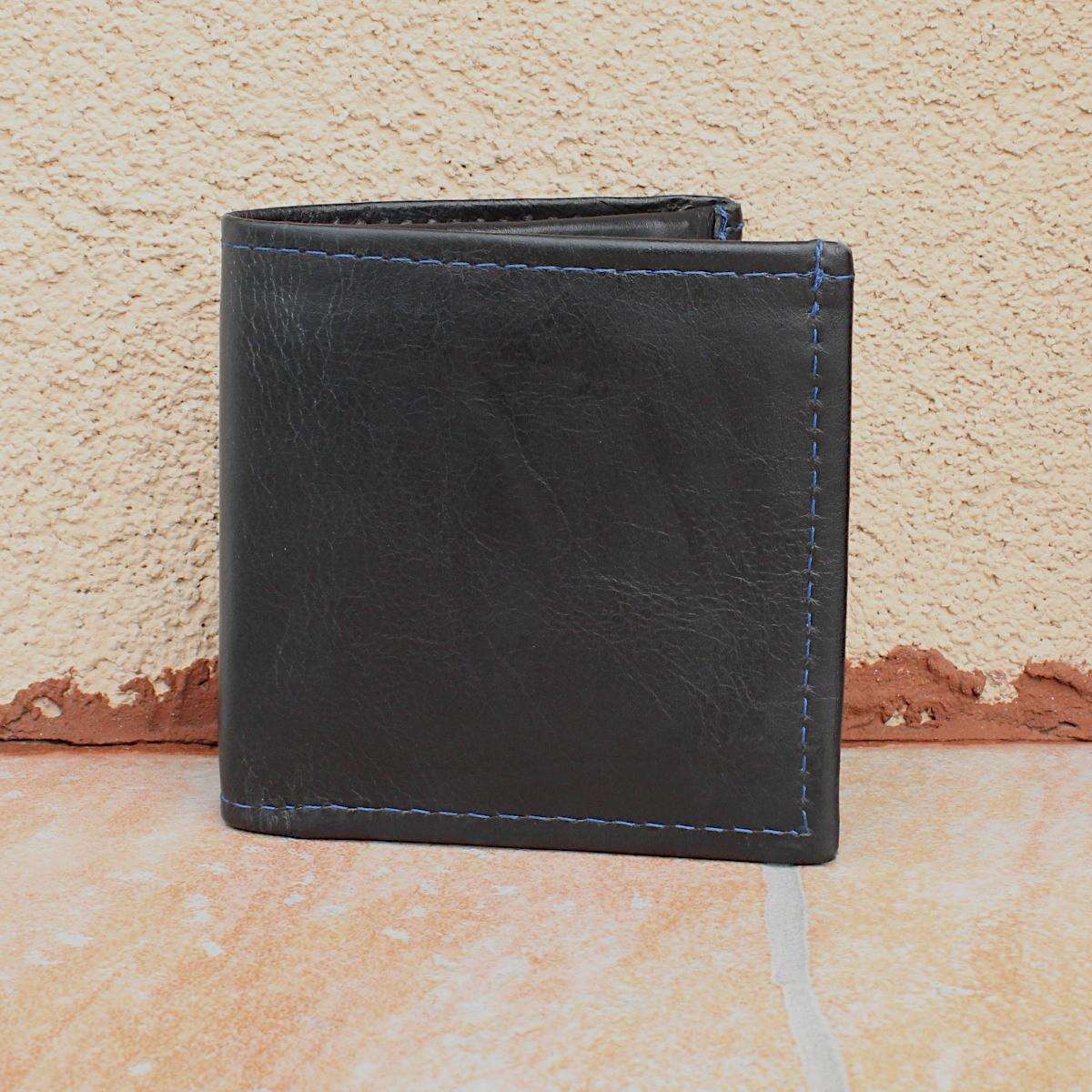 естестена кожа мъжки портфейл син конец - отпред