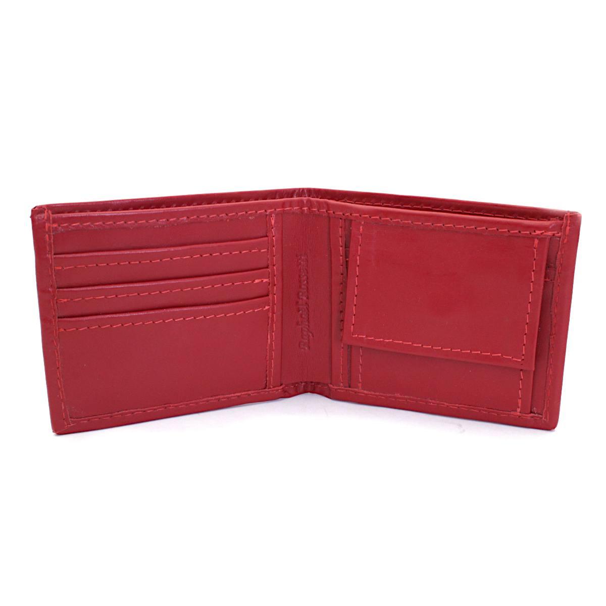естествена кожа мъжки портфейл червен - вътре