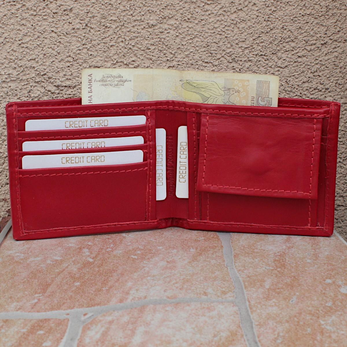 естествена кожа мъжки портфейл червен - карти