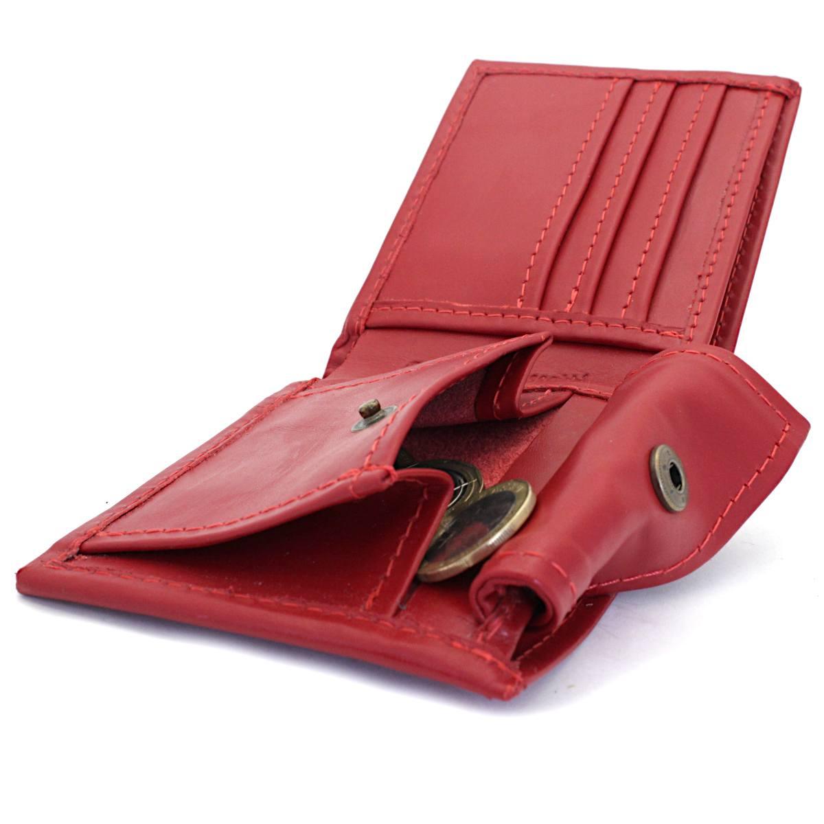 естествена кожа мъжки портфейл червен - монетник
