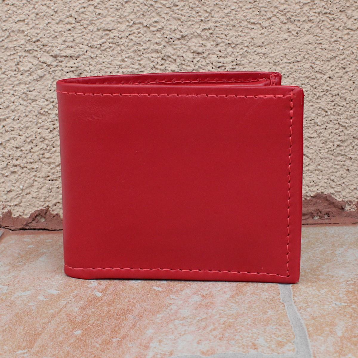 естествена кожа мъжки портфейл червен - отпред