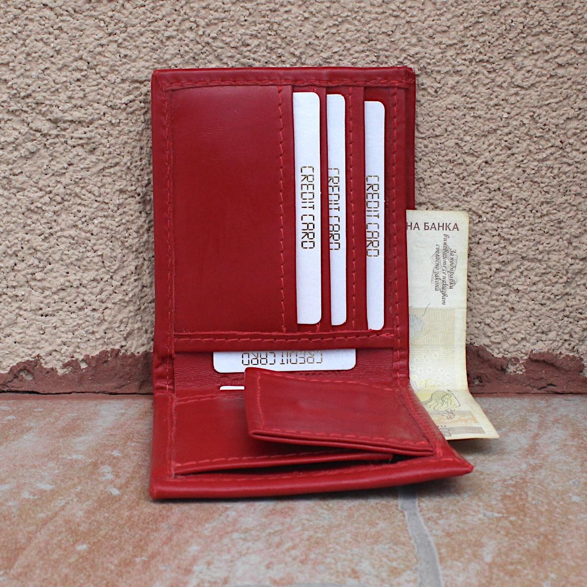 естествена кожа мъжки портфейл червен - централно отделение