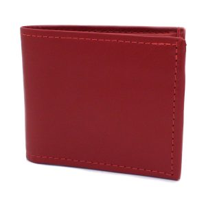 естествена кожа мъжки портфейл червен