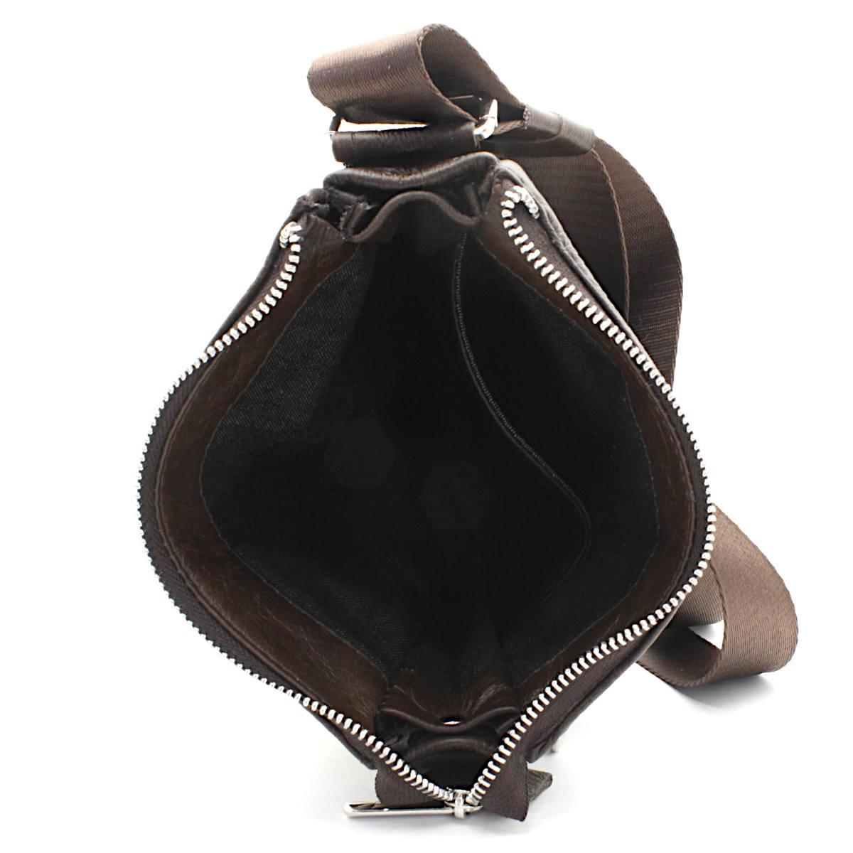 кафява мъжка кожена чанта през рамо - вътре