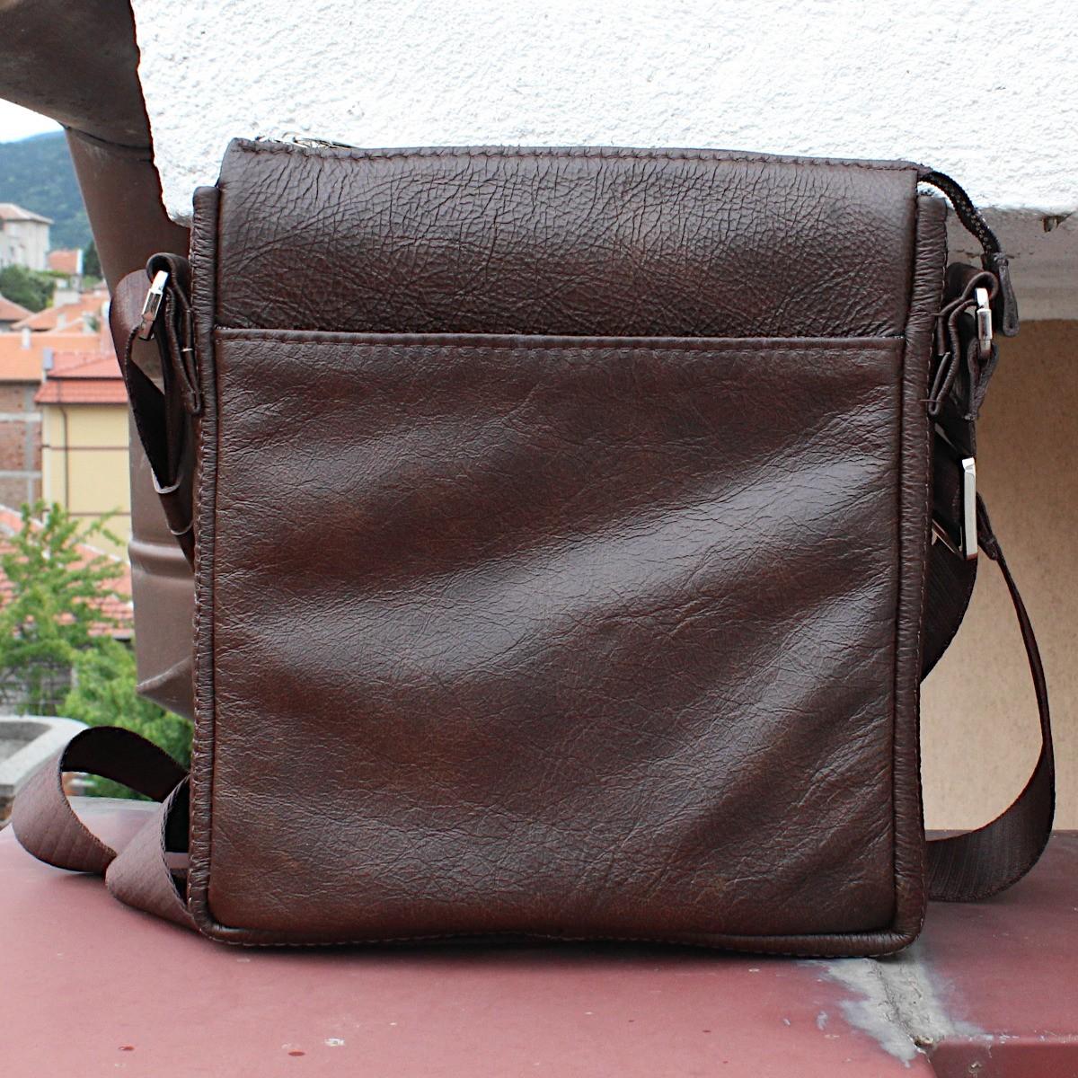 кафява мъжка кожена чанта през рамо - отпред