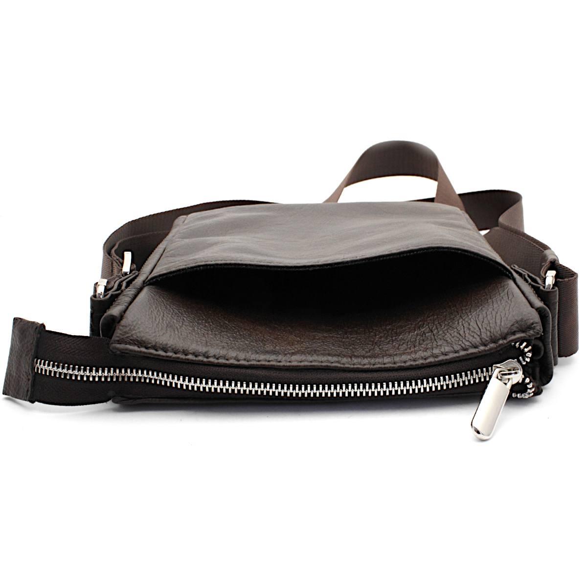кафява мъжка кожена чанта през рамо - преден джоб
