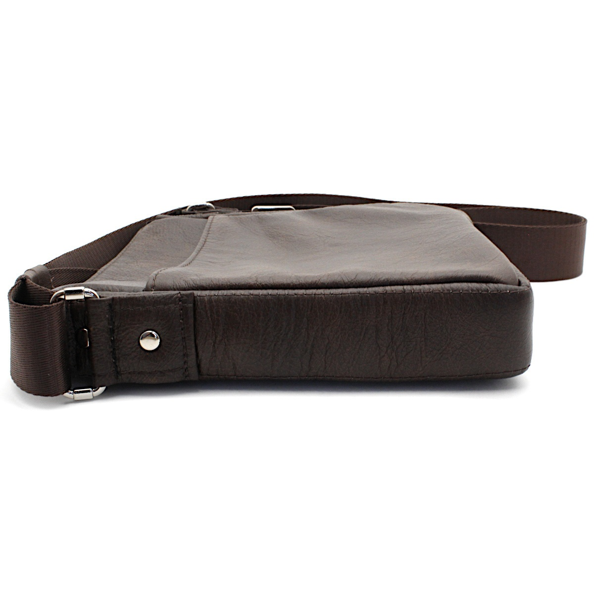 кафява мъжка кожена чанта през рамо - страни