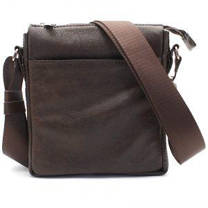 кафява мъжка кожена чанта през рамо