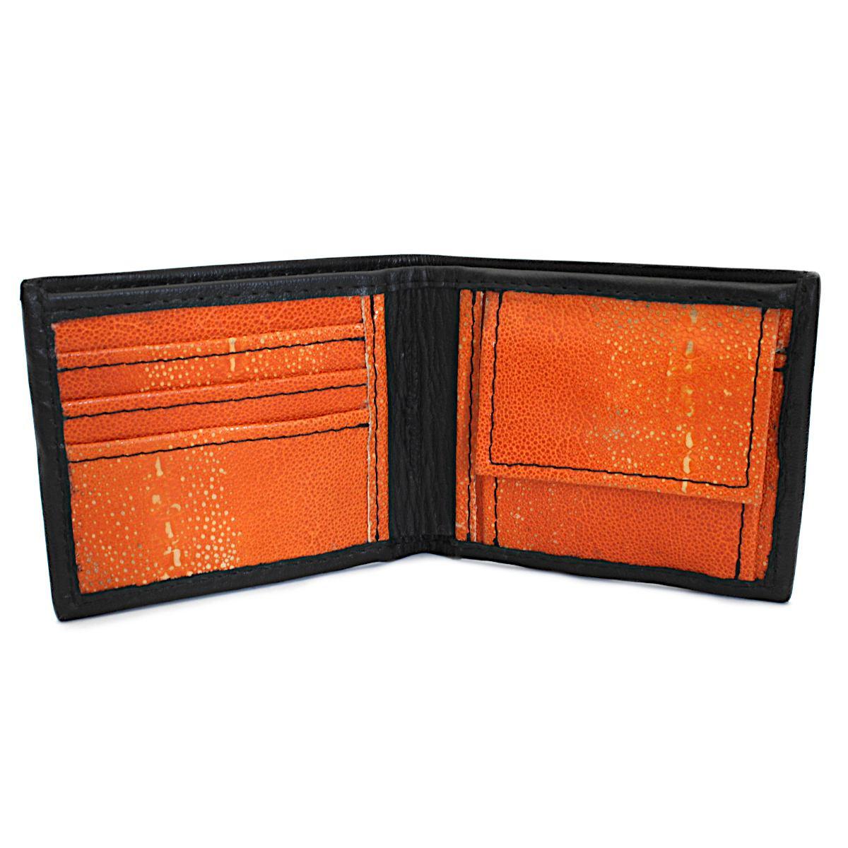 кожен портфейл ръчна изработка черен/оранжев - вътре