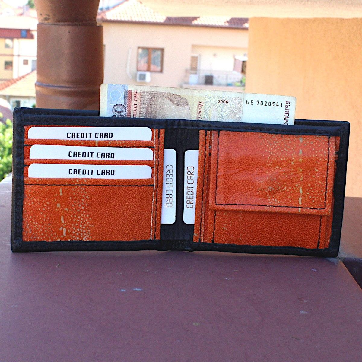 кожен портфейл ръчна изработка черен/оранжев - карти