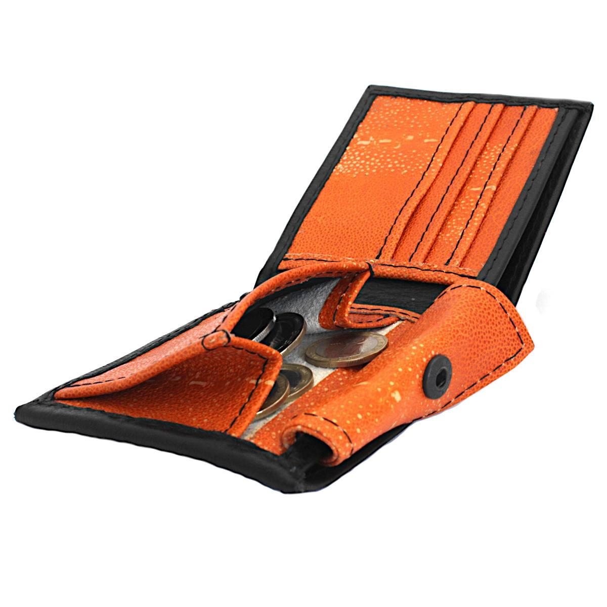 кожен портфейл ръчна изработка черен/оранжев - монетник
