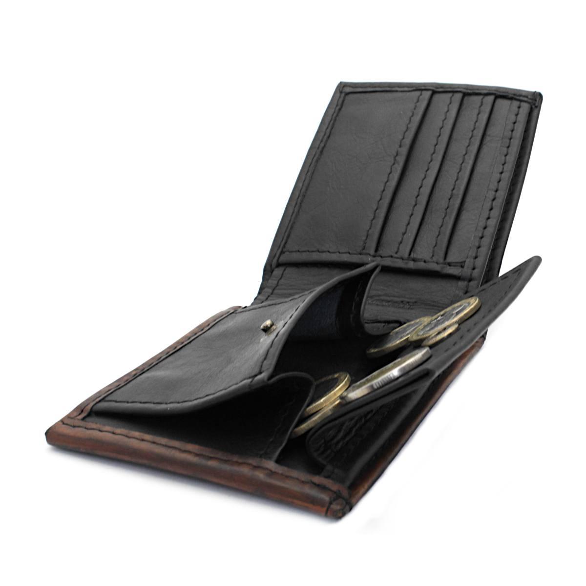 мъжки кожен портфейл в черно и кафяво - монетник