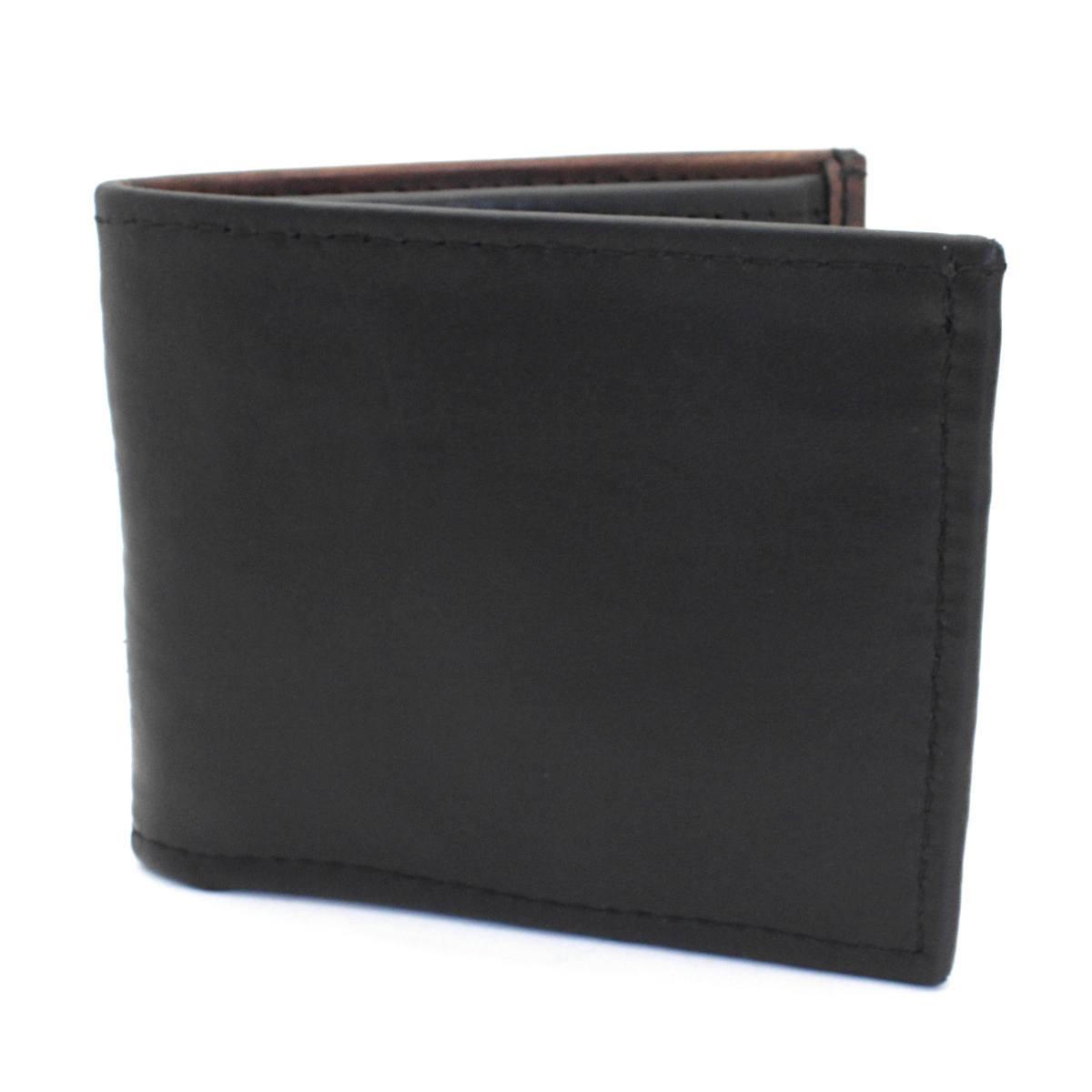мъжки кожен портфейл в черно и кафяво - отпред