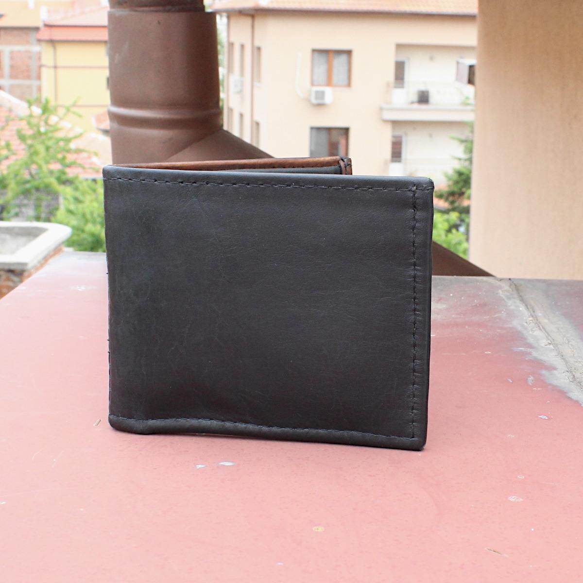 мъжки кожен портфейл в черно и кафяво