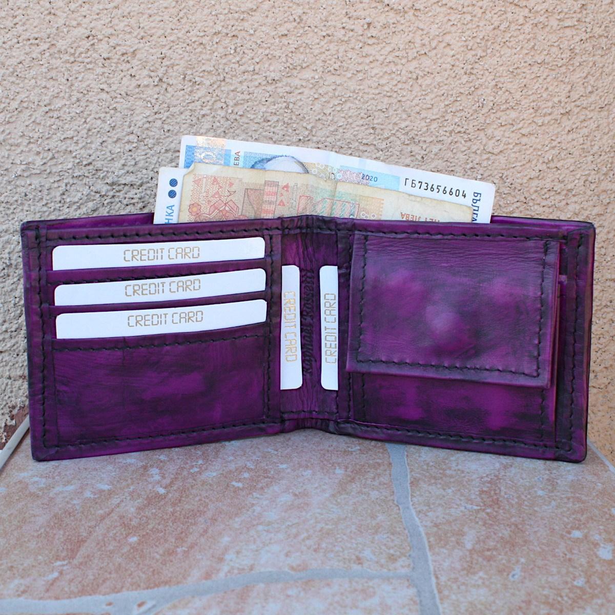 мъжки портфейл естествена кожа винтидж - карти