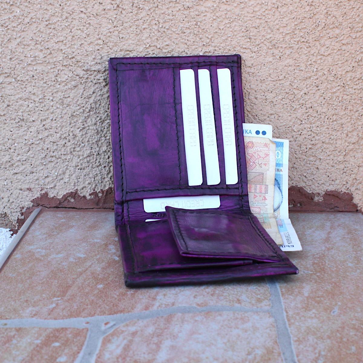мъжки портфейл естествена кожа винтидж - централно отделение