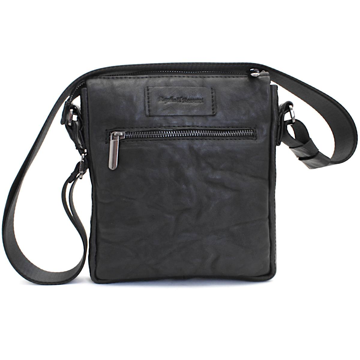 оригинална мъжка кожена чанта черна - вътре