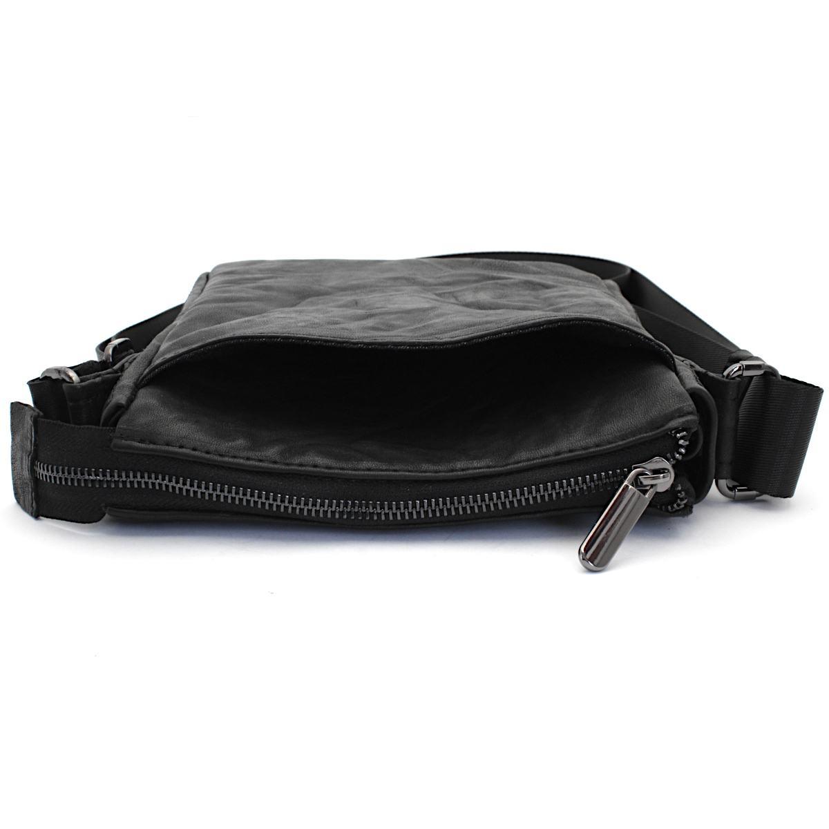 оригинална мъжка кожена чанта черна - преден джоб