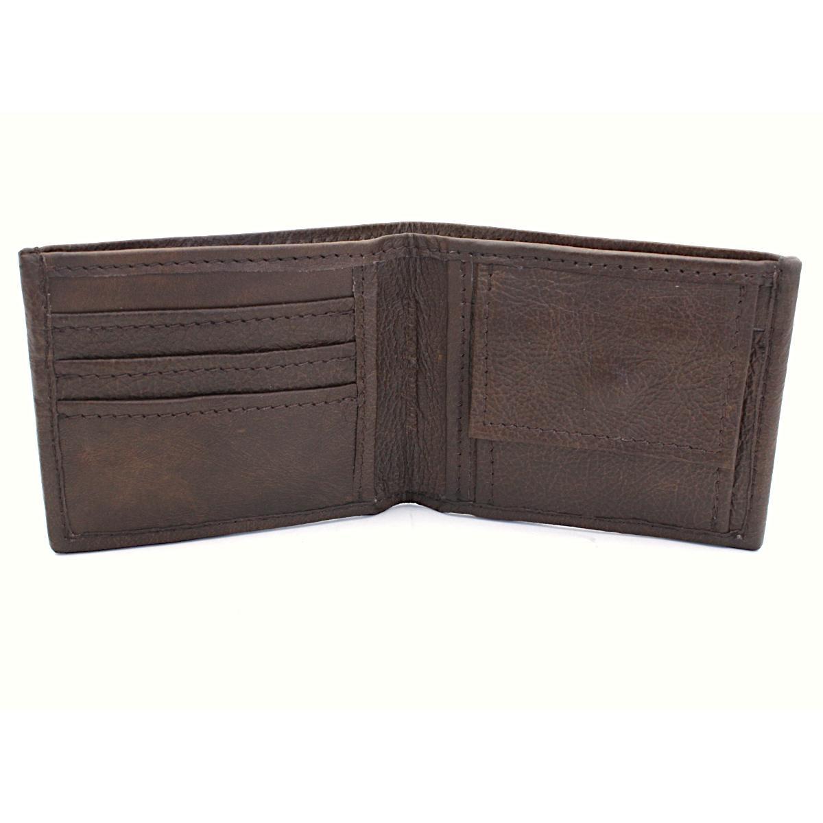 практичен мъжки портфейл естествена кожа - вътре