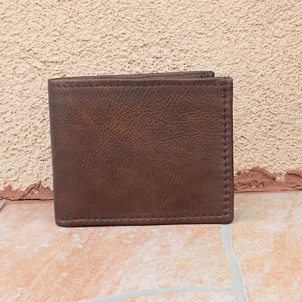 практичен мъжки портфейл естествена кожа - отпред