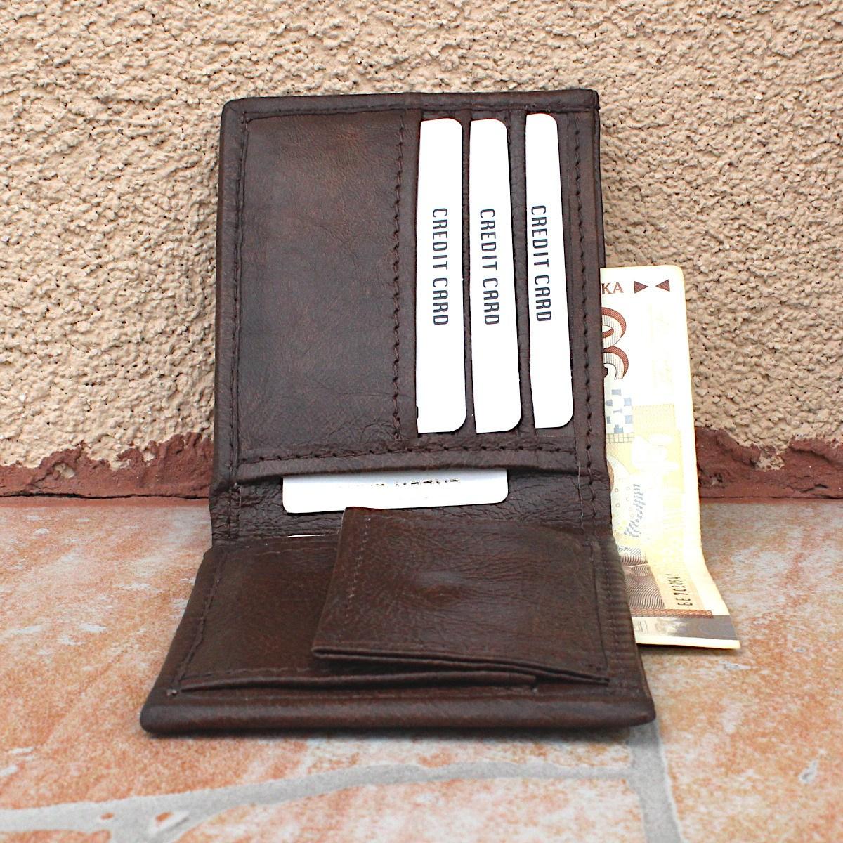 практичен мъжки портфейл естествена кожа - централно отделение