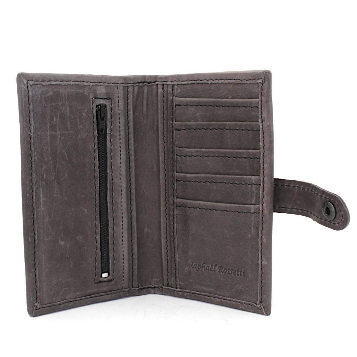 ръчно изработен кожен портфейл сив - вътре
