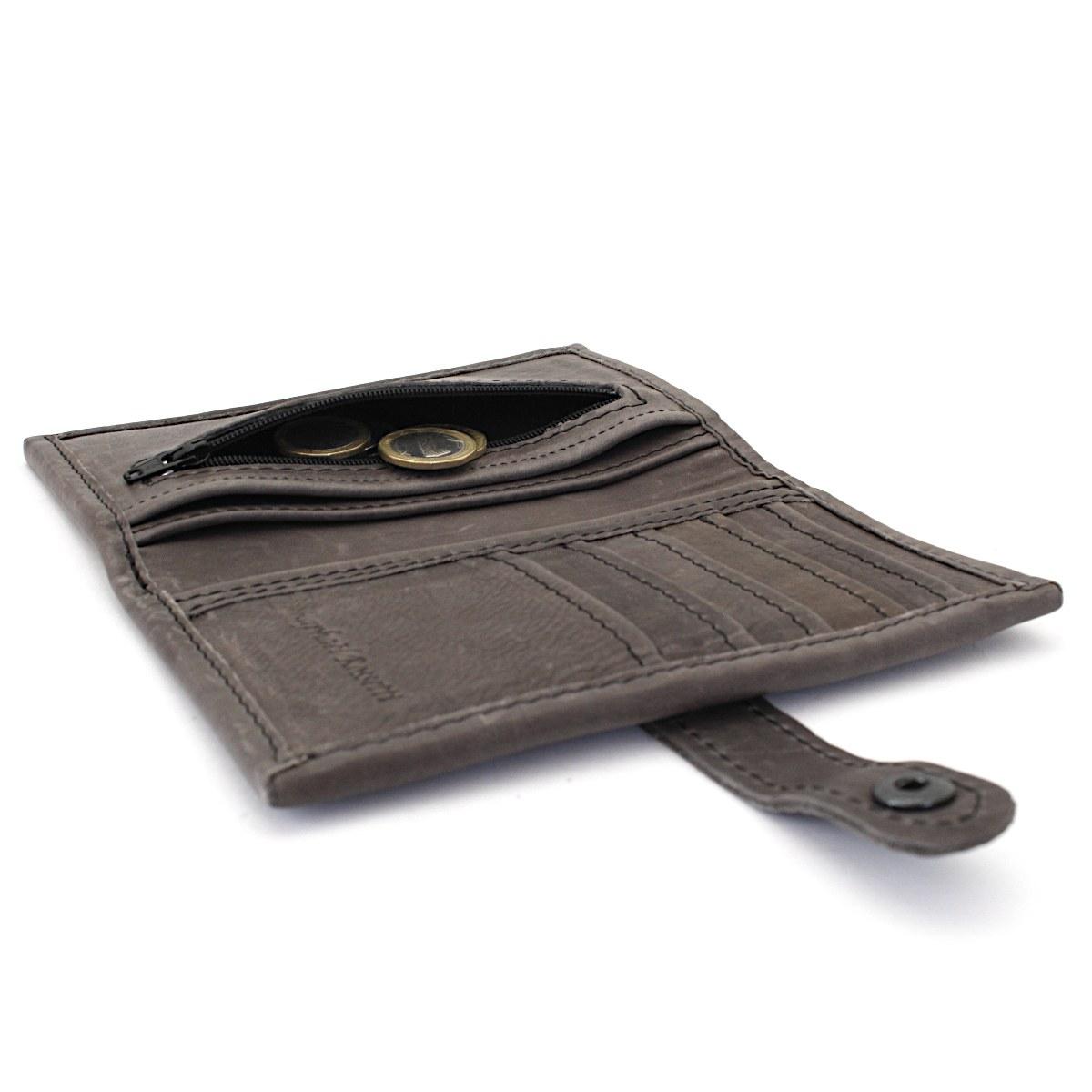 ръчно изработен кожен портфейл сив - монетник
