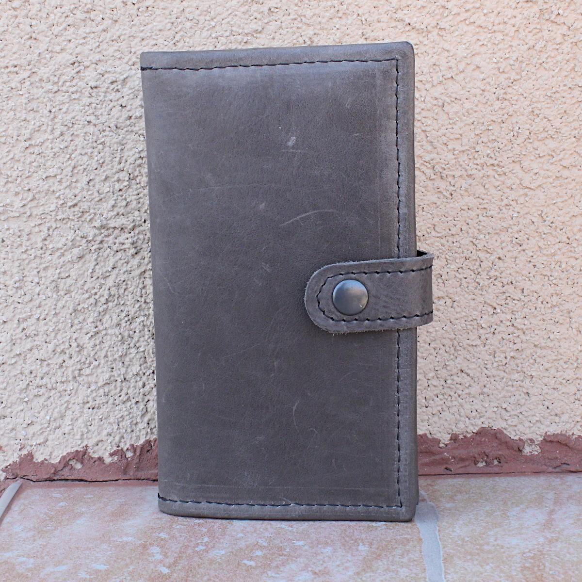 ръчно изработен кожен портфейл сив - отпред