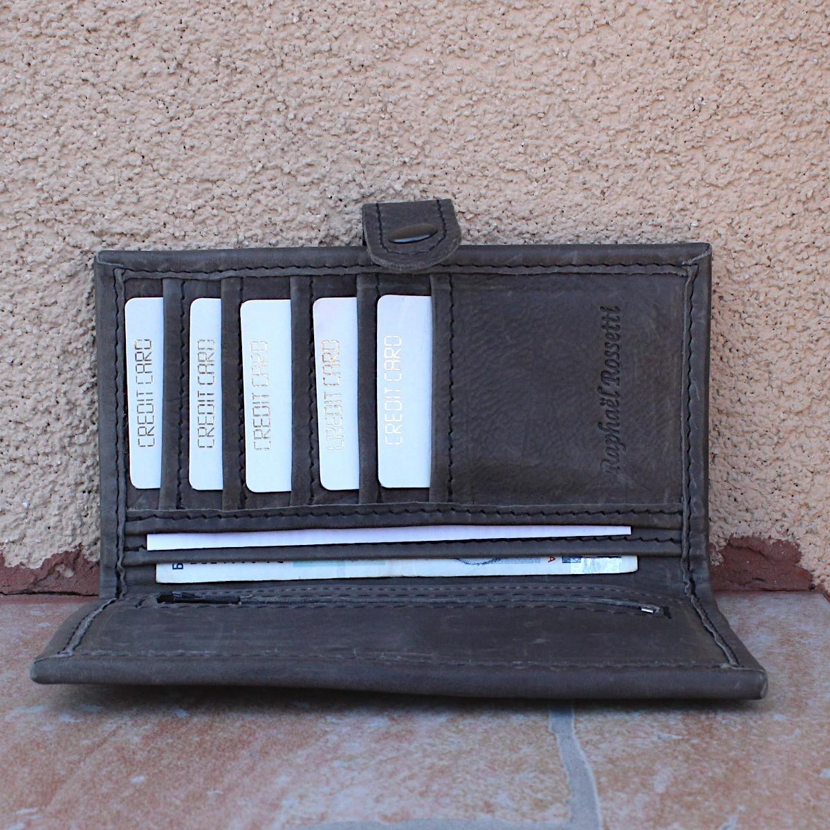 ръчно изработен кожен портфейл сив - централно отделение