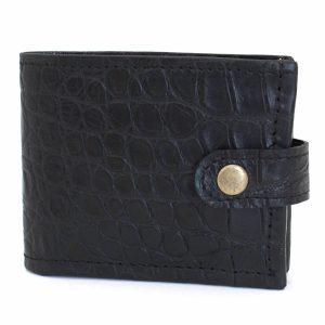 черен мъжки кожен портфейл с копче