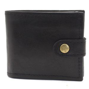 черен мъжки портфейл телешка кожа - отпред