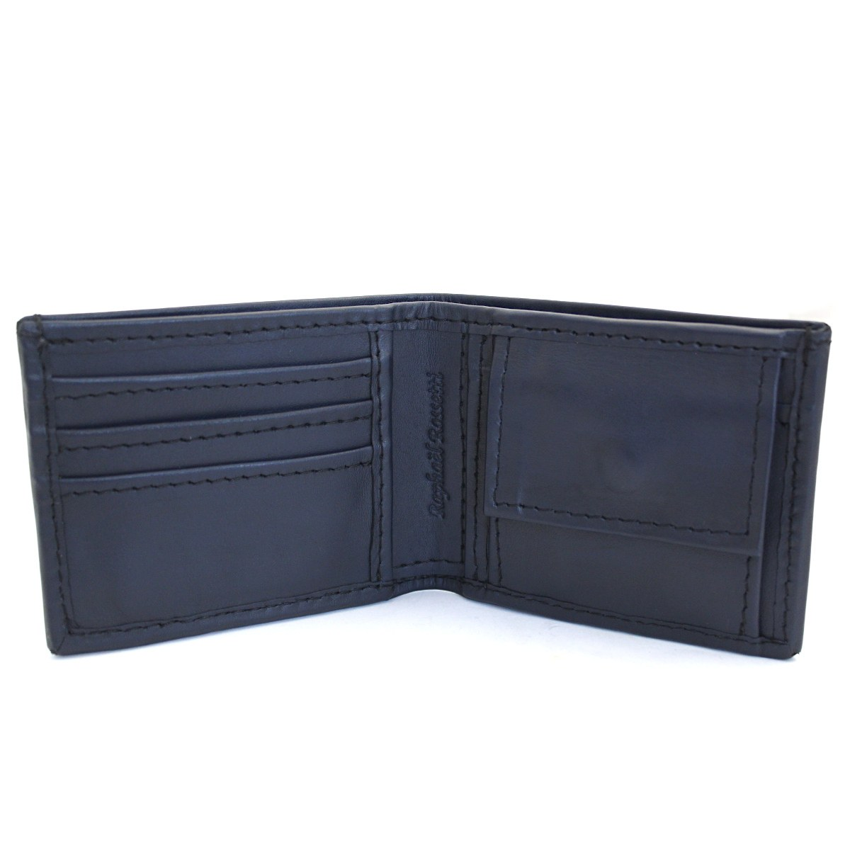 естествена кожа мъжки портфейл тъмно син с ластик - карти