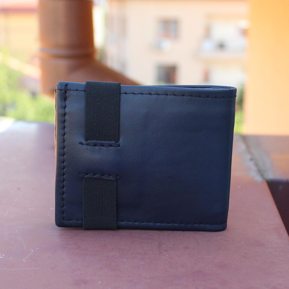 естествена кожа мъжки портфейл тъмно син с ластик - отзад
