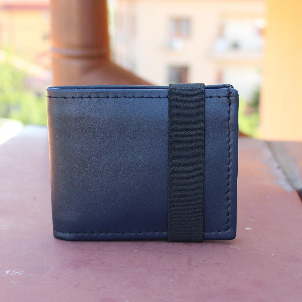 естествена кожа мъжки портфейл тъмно син с ластик - отпред